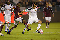 LA Galaxy midfielder Landon Donovan attempts to move past Marvell Wynne defender of the Colorado Rapids. The Colorado Rapids defeated the LA Galaxy 3-2 at Home Depot Center stadium in Carson, California on Saturday October 16, 2010.