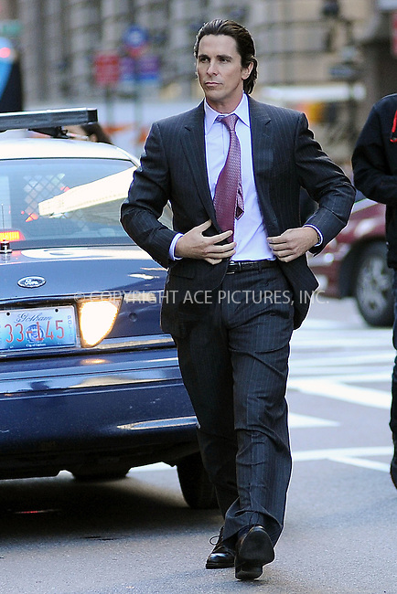 WWW.ACEPIXS.COM . . . . . .October 28, 2011...New York City... Christian Bale films the The Dark Knight Rises in midtown on October 28, 2011 in New York City....Please byline: KRISTIN CALLAHAN - ACEPIXS.COM.. . . . . . ..Ace Pictures, Inc: ..tel: (212) 243 8787 or (646) 769 0430..e-mail: info@acepixs.com..web: http://www.acepixs.com .
