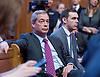 UKIP Leadership Announcement <br /> at the Emmanuel Centre, Westminster, London, Great Britain <br /> 28th November 2016 <br /> <br /> Nigel Farage MEP<br /> former UKIP Leader <br /> <br /> watches Paul Nuttall's acceptance speech <br /> <br /> Paul Nuttall <br /> new UKIP Leader <br /> <br /> Photograph by Elliott Franks <br /> Image licensed to Elliott Franks Photography Services