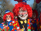 Düsseldorf, Germany. 15 February 2015. Clowns in Königsallee. Street carnival celebrations take place on Königsallee (Kö) in Düsseldorf ahead of the traditional Shrove Monday parade (Rosenmontagszug).