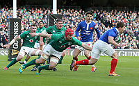 Sunday10th March 2019 | Ireland vs France<br /> <br /> Antoine Dupont evades Josh van der Flier in the French in-goal area during the Guinness 6 Nations clash between Ireland and France at the Aviva Stadium, Lansdowne Road, Dublin, Ireland. Photo by John Dickson / DICKSONDIGITAL