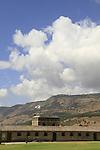 Israel, Tel Hai courtyard in the Upper Galilee