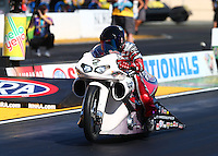 Jul. 25, 2014; Sonoma, CA, USA; NHRA pro stock motorcycle rider Scotty Pollacheck during qualifying for the Sonoma Nationals at Sonoma Raceway. Mandatory Credit: Mark J. Rebilas-