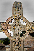 Detail of the Cross of the scriptures (replica), 10th century, Clonmacnoise, County Offaly, Ireland, in the evening. Clonmacnoise was founded by St Ciaran, with the help of Diarmait Ui Cerbaill, Ireland's first Christian King. The site presents the largest collection of Early Christian graveslabs in Western Europe. Picture by Manuel Cohen