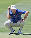 David Toms lines up a putt on the 1st hole during the Barracuda Golf Championship at the Montrêux Golf & Country Club on Sunday, August 9, 2015.