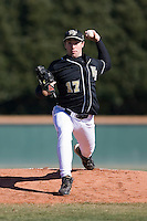 Garrett Bullock (17) of the Wake Forest Demon Deacons in action versus the Clemson Tigers during the first game of a double header at Gene Hooks Stadium in Winston-Salem, NC, Sunday, March 9, 2008.