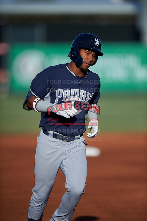 AZL Padres 1 Yordi Francisco (5) rounds the bases after hitting a home run during an Arizona League game against the AZL Angels on July 16, 2019 at Tempe Diablo Stadium in Tempe, Arizona. The AZL Padres 1 defeated the AZL Angels 3-1. (Zachary Lucy/Four Seam Images)