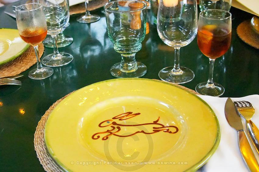 Restaurant Chez Philippe. Marseillan. Languedoc. France. Europe. Wine glass.