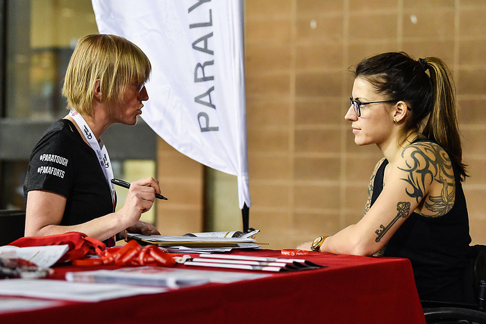 MONTREAL, QC - APRIL 29:  A participant registers during the 2017 Montreal Paralympian Search at Complexe sportif Claude-Robillard. Photo: Minas Panagiotakis/Canadian Paralympic Committee