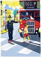Policeman stopping bus for little boy to cross road with toy bus