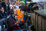 Tottenham Hotspur 4 Watford 0, 08/04/2017. White Hart Lane, Premier League. A television cameraman working in front of the South Stand during the second-half as Tottenham Hotspur took on Watford in an English Premier League match at White Hart Lane. Spurs were due to make an announcement in April 2016 regarding when they would move out of their historic home and relocate to Wembley as their new stadium was completed. Spurs won this match 4-0 watched by a crowd of 31,706, a reduced attendance figure due to the ongoing ground redevelopment. Photo by Colin McPherson.
