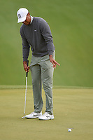 Tiger Woods (USA) reacts to lipping out his putt on 18 during day 4 of the WGC Dell Match Play, at the Austin Country Club, Austin, Texas, USA. 3/30/2019.<br /> Picture: Golffile | Ken Murray<br /> <br /> <br /> All photo usage must carry mandatory copyright credit (© Golffile | Ken Murray)