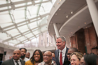 New York Mayor Bill de Blasio greets supporters after a press conference on 2016 crime statistics at the Brooklyn Museum on Wednesday, January 4, 2017. 2016 annual shooting incidents fell below 1000 for the first time ever as well as the lowest incidences of reported crime since the introduction of Compstat. Illustration. (© Richard B. Levine)
