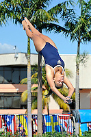 5 November 2011:  FIU's Sabrina Dow competes in the 1 meter diving as the FIU Golden Panthers won the meet with the Florida Atlantic University Owls and Florida Southern Moccasins at the Biscayne Bay Campus Aquatics Center in Miami, Florida.