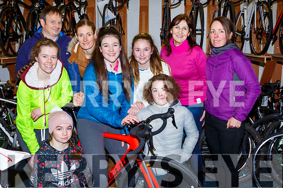 Killarney Cycling club cyclist at their awards  ceremony in O'Sullivan Bike shop on Saturday l-r: David O'Sullivan, Faith Hilliard, Alanna Drennan, Lisa Stapelbroek, Tara Kissane, Ailbhe Kissane, Ava Power, Pauline Russell, Emma Walsh