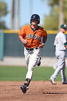 San Francisco Giants infielder Hunter Cole (23) runs the bases after hitting a home run during an Instructional League game against the Oakland Athletics on October 13, 2014 at Giants Baseball Complex in Scottsdale, Arizona.  (Mike Janes/Four Seam Images)