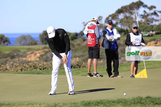 Jason Day (AUS) putts on the 12th green during Friday's Round 2 of the 2017 Farmers Insurance Open held at Torrey Pines Golf Course, La Jolla, San Diego, California, USA.<br /> 27th January 2017.<br /> Picture: Eoin Clarke | Golffile<br /> <br /> <br /> All photos usage must carry mandatory copyright credit (&copy; Golffile | Eoin Clarke)
