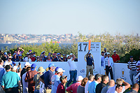 Marc Leishman (AUS) watches his tee shot on 17 during round 1 foursomes of the 2017 President's Cup, Liberty National Golf Club, Jersey City, New Jersey, USA. 9/28/2017.<br /> Picture: Golffile   Ken Murray<br /> ll photo usage must carry mandatory copyright credit (&copy; Golffile   Ken Murray)