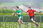 Gavin Wrenn  Milltown/Castlemaine breaks through Kieran Browne Clondegad challenge in the quarter final of the Munster Intermediate Club championship at Milltown on Sunday