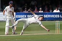 Matthew Fisher of Yorkshire takes a fine catch off of his own bowling to dimiss Nick Browne during Essex CCC vs Yorkshire CCC, Specsavers County Championship Division 1 Cricket at The Cloudfm County Ground on 7th July 2019