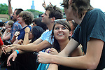 Front row revelers are seen at Pitchfork Music Festival in Union Park in Chicago, Illinois on July 19, 2009.