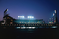 SAN FRANCISCO, CA - Exterior view of Pacific Bell Park from across McCovey Cove at night, home of the San Francisco Giants, in San Francisco, California in 2000. Photo by Brad Mangin