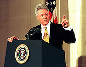 Washington, DC - March 19, 1999 -- United States President Bill Clinton makes a point during his press confrence on March 19, 1999..Credit: Ron Sachs / CNP