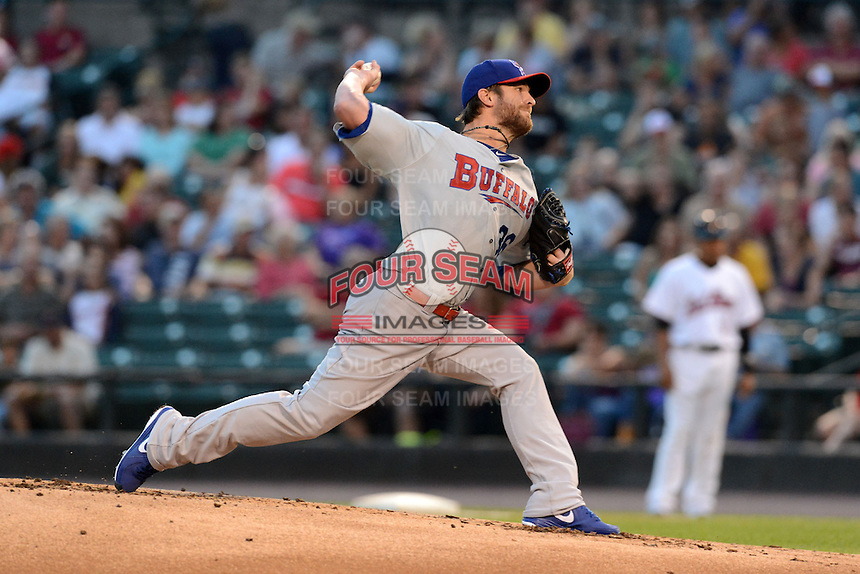 Buffalo Bisons pitcher Kyle Drabek (36) during a game against the Rochester Red Wings on August 30, 2013 at Frontier Field in Rochester, New York.  Buffalo defeated Rochester 6-3.  (Mike Janes/Four Seam Images)
