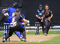 Amelia Kerr bowls during the women's Twenty20 cricket match between the Wellington Blaze and Otago Sparks at Basin Reserve in Wellington, New Zealand on Friday, 28 December 2018. Photo: Dave Lintott / lintottphoto.co.nz