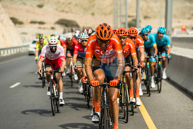 The peloton with CCC Team on the front during Stage 4 of 10th Tour of Oman 2019, running 131km from Yiti (Al Sifah) to Oman Convention and Exhibition Centre, Oman. 19th February 2019.<br /> Picture: ASO/Kåre Dehlie Thorstad | Cyclefile<br /> All photos usage must carry mandatory copyright credit (© Cyclefile | ASO/Kåre Dehlie Thorstad)