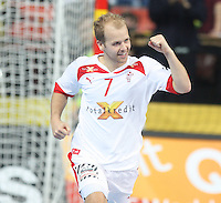 25.01.2013 Barcelona, Spain. IHF men's world championship, Semi-final. Picture show Anders Eggert in action during game between Spain vs Slovenia at Palau St. Jordi
