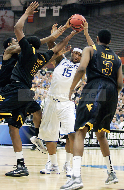 Freshman forward DeMarcus Cousins fights his way to the net in the first half of UK's Elite 8 loss , 73-66, against West Virginia at the Carrier Dome in Syracuse, NY on  Saturday, March 27, 2010. Photo by Britney McIntosh | Staff