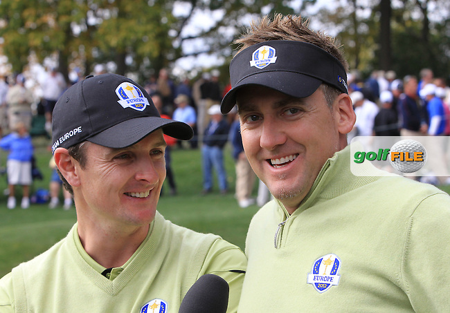 Ian Poulter and Justin Rose during Friday's Morning Foursomes Matches of the 39th Ryder Cup at Medinah Country Club, Chicago, Illinois 28th September 2012 (Photo Eoin Clarke/www.golffile.ie)