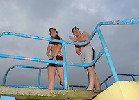 25/12/2013. Swimmers prepare to jump from the diving tower in Blackrock. Christmas Day Swim - Salthill Galway