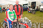 Jim Gibson and David Atkins. Jim is seated on his MBA powered LCR chassis, which will compete in the 125cc class.