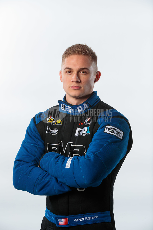 Feb 6, 2019; Pomona, CA, USA; NHRA top fuel driver Jordan Vandergriff poses for a portrait during NHRA Media Day at the NHRA Museum. Mandatory Credit: Mark J. Rebilas-USA TODAY Sports