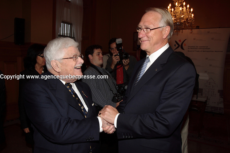 Montreal (Qc) CANADA -October 9 2007 -<br /> Paul Guerin-Lajoie ,Gerald Tremblay,<br /> Gala des Grands Montrealais a l'Hotel de Ville de Montreal<br /> <br /> <br /> <br /> <br /> photo : Pierre Roussel /  Images Distribution