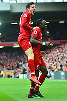 Liverpool's Sadio Mane celebrates scoring his side's first goal with Andrew Robertson<br /> <br /> Photographer Richard Martin-Roberts/CameraSport<br /> <br /> The Premier League - Liverpool v Chelsea - Sunday 14th April 2019 - Anfield - Liverpool<br /> <br /> World Copyright © 2019 CameraSport. All rights reserved. 43 Linden Ave. Countesthorpe. Leicester. England. LE8 5PG - Tel: +44 (0) 116 277 4147 - admin@camerasport.com - www.camerasport.com