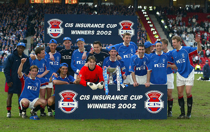 Rangers celebrate CIS Cup win over Ayr Utd at Hampden in 2002