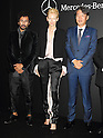 Designer Haider Ackermann, actress Tilda Swinton and Mercedes Bentz Japan CEO Kintaro Ueno attend the opening ceremony of Mercedes-Benz Fashion Week TOKYO 2015 S/S on October 13, 2014 in Tokyo, Japan.