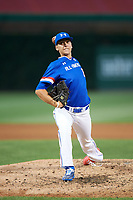 Brandon Neeck (8) of Horace Greeley High School in Chappaqua, New York delivers a pitch during the Under Armour All-American Game presented by Baseball Factory on July 29, 2017 at Wrigley Field in Chicago, Illinois.  (Mike Janes/Four Seam Images)