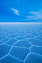 Bolivia, Altiplano, Salar de Uyuni, world's largest salt pan; hexagons evolve a few months after salt pan has dried up; at dusk
