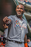 20 September 2015: Miami Marlins outfielder Marcell Ozuna smiles in the dugout prior to a game against the Washington Nationals at Nationals Park in Washington, DC. The Marlins fell to the Nationals 13-3 in the final game of their 4-game series. Mandatory Credit: Ed Wolfstein Photo *** RAW (NEF) Image File Available ***