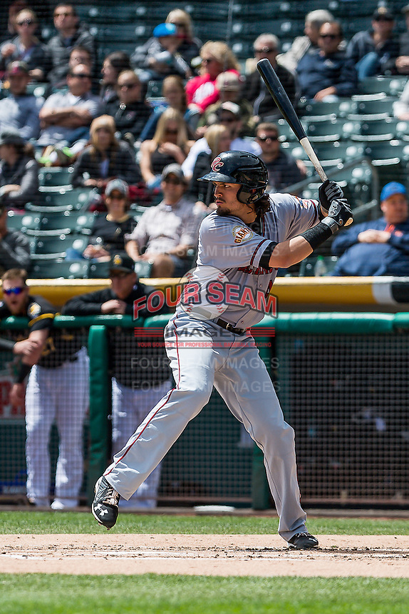 Jarrett Parker (47) of the Sacramento River Cats at bat against the Salt Lake Bees in Pacific Coast League action at Smith's Ballpark on May 01, 2016 in Salt Lake City, Utah. Sacramento defeated Salt Lake 16-6.  (Stephen Smith/Four Seam Images)