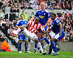 Ricardo Fuller of Stoke City goes close to scoring during the Championship League match at The Britannia Stadium, Stoke. Picture date 4th May 2008. Picture credit should read: Simon Bellis/Sportimage