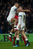 Englands' Jonny May celebrates scoring his side's first try with Jonathan Joseph<br /> <br /> Photographer Bob Bradford/CameraSport<br /> <br /> NatWest Six Nations Championship - England v Wales - Saturday 10th February 2018 - Twickenham Stadium - London<br /> <br /> World Copyright &copy; 2018 CameraSport. All rights reserved. 43 Linden Ave. Countesthorpe. Leicester. England. LE8 5PG - Tel: +44 (0) 116 277 4147 - admin@camerasport.com - www.camerasport.com