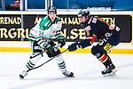 Stockholm 2014-03-27 Ishockey Kvalserien Djurg&aring;rdens IF - R&ouml;gle BK :  <br /> R&ouml;gles Daniel Zaar i kamp om pucken med Djurg&aring;rdens Andreas Englund <br /> (Foto: Kenta J&ouml;nsson) Nyckelord:  DIF Djurg&aring;rden R&ouml;gle RBK Hovet