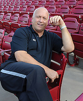 Cal Ripken Jr. watches the South Carolina Gamecocks during an intrasquad game as part of the Garnet & Black World Series on Oct. 25, 2012, at Carolina Stadium in Columbia, South Carolina. Ripken's son, Ryan Ripken, is a freshman first baseman with the Gamecocks. (Tom Priddy/Four Seam Images)