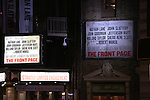 """Theatre Marquee for the Broadway Opening Night performance  for """"The Front Page""""  at the Broadhurst Theatre on October 20, 2016 in New York City."""