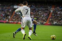 Real Madrid´s Cristiano Ronaldo and Deportivo de la Coruna's Laureano Sanabria Ruiz during 2014-15 La Liga match between Real Madrid and Deportivo de la Coruna at Santiago Bernabeu stadium in Madrid, Spain. February 14, 2015. (ALTERPHOTOS/Luis Fernandez) /NORTEphoto.com